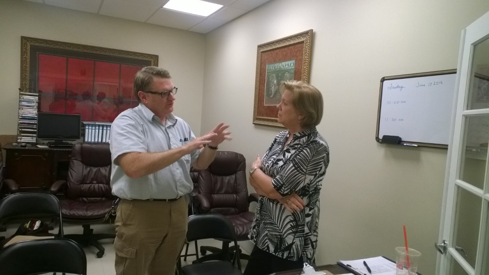 Dr. James Dugart and Mrs. Joan Crown in deep discussion during the break.  We have no idea what they were discerning.