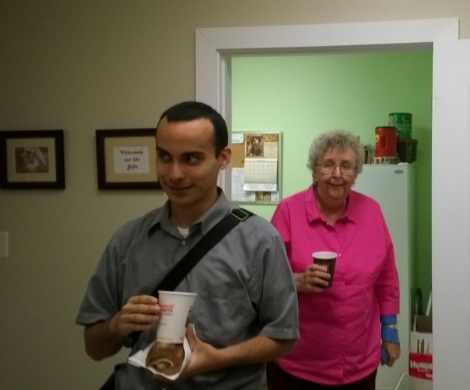 Raul Camarca and Mary Tate emerge out of the kitchen.  More discernment?